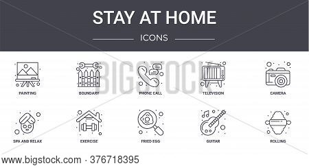 Stay At Home Concept Line Icons Set. Contains Icons Usable For Web, Logo, Ui Ux Such As Boundary, Te