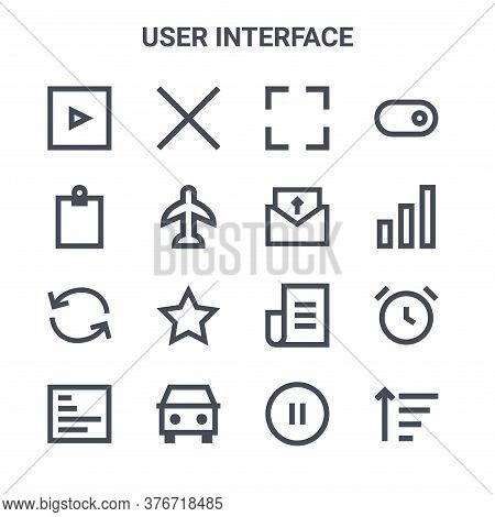 Set Of 16 User Interface Concept Vector Line Icons. 64x64 Thin Stroke Icons Such As Delete, Clipboar