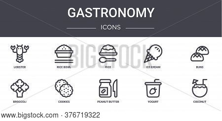 Gastronomy Concept Line Icons Set. Contains Icons Usable For Web, Logo, Ui Ux Such As Rice Bowl, Ice