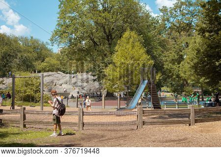 New York, Ny / Usa - July 24, 2019: Heckscher Playground In Central Park