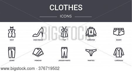 Clothes Concept Line Icons Set. Contains Icons Usable For Web, Logo, Ui Ux Such As High Heels, Sweat