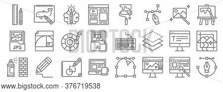 Graphic Design Line Icons. Linear Set. Quality Vector Line Set Such As Pen Tool, Graphic De, Working