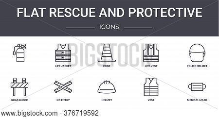 Flat Rescue And Protective Concept Line Icons Set. Contains Icons Usable For Web, Logo, Ui Ux Such A