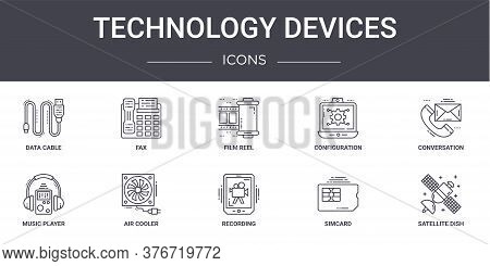Technology Devices Concept Line Icons Set. Contains Icons Usable For Web, Logo, Ui Ux Such As Fax, C