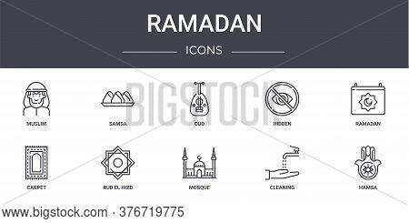 Ramadan Concept Line Icons Set. Contains Icons Usable For Web, Logo, Ui Ux Such As Samsa, Hidden, Ca