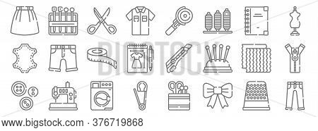 Sewing Line Icons. Linear Set. Quality Vector Line Set Such As Trousers, Ribbon, Safety Pin, Buttons
