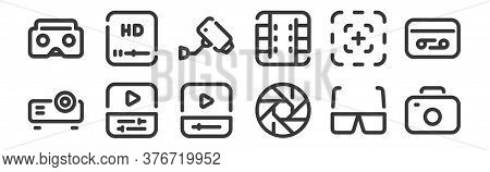 12 Set Of Linear Video Icons. Thin Outline Icons Such As Camera, Shutter, Video Editing, Focus, Cctv