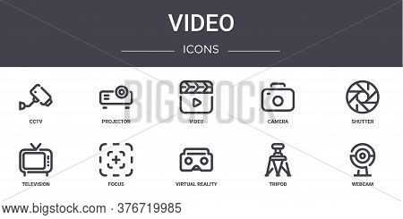 Video Concept Line Icons Set. Contains Icons Usable For Web, Logo, Ui Ux Such As Projector, Camera,