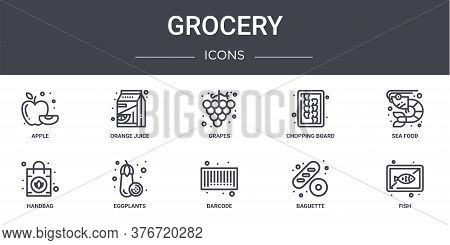 Grocery Concept Line Icons Set. Contains Icons Usable For Web, Logo, Ui Ux Such As Orange Juice, Cho
