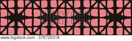 Japanese Tie Dye Seamless Pattern. Geometric Bohemian Asian Tie Dye Texture. Boho Shell Arc Design B