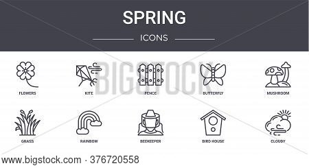 Spring Concept Line Icons Set. Contains Icons Usable For Web, Logo, Ui Ux Such As Kite, Butterfly, G