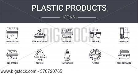 Plastic Products Concept Line Icons Set. Contains Icons Usable For Web, Logo, Ui Ux Such As Clothes