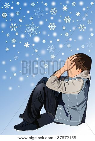 Sad kid under snowflakes