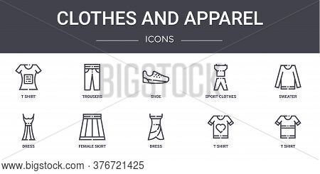 Clothes And Apparel Concept Line Icons Set. Contains Icons Usable For Web, Logo, Ui Ux Such As Trous