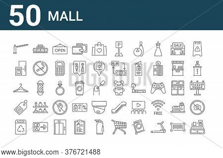 Set Of 50 Mall Icons. Outline Thin Line Icons Such As Cashier, Recycle Bin, Price Tag, Clothes Hange
