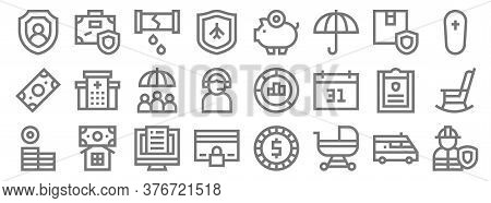Insurance Line Icons. Linear Set. Quality Vector Line Set Such As Worker, Baby Stroller, Cit Card, M