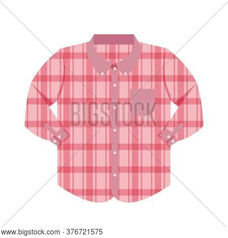 Plaid Shirt Clothes Red Isolated On White, Clothes Pattern Plaid Pink Flat Simple, Clip Art Of Cloth