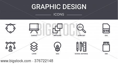 Graphic Design Concept Line Icons Set. Contains Icons Usable For Web, Logo, Ui Ux Such As Canvas, Zo