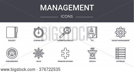Management Concept Line Icons Set. Contains Icons Usable For Web, Logo, Ui Ux Such As Stopwatch, Cv,