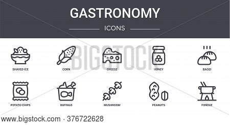 Gastronomy Concept Line Icons Set. Contains Icons Usable For Web, Logo, Ui Ux Such As Corn, Honey, P