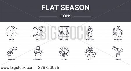 Flat Season Concept Line Icons Set. Contains Icons Usable For Web, Logo, Ui Ux Such As Kite, Clothin