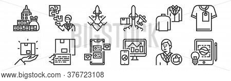 12 Set Of Linear Branding Icons. Thin Outline Icons Such As Creative, Analysis, Content, Personality
