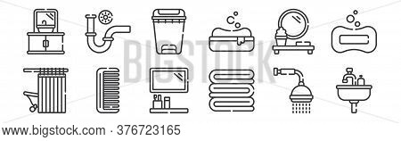 12 Set Of Linear Bathroom Icons. Thin Outline Icons Such As Sink, Towel, Comb, Mirror, Bin, Pipe For