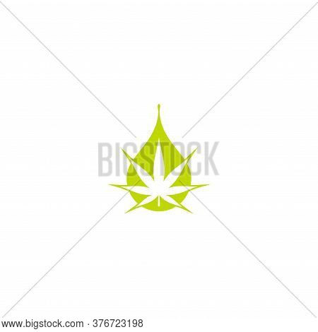 Cbd Hemp Oil Icon. Green Hemp Or Cannabis Leaf In Drop Or Driplet. Isolated On White.