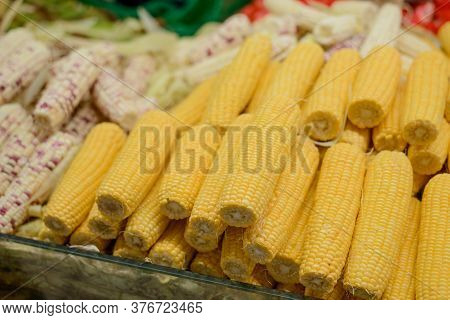 Different Sorts Of Maize At A Local Food Market