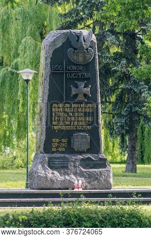Zamosc, Poland - June 12, 2020: Monument Commemorating The Soldiers Of The National Army Fighting Fo
