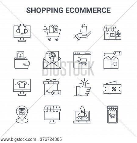 Set Of 16 Shopping Ecommerce Concept Vector Line Icons. 64x64 Thin Stroke Icons Such As Shopping Car