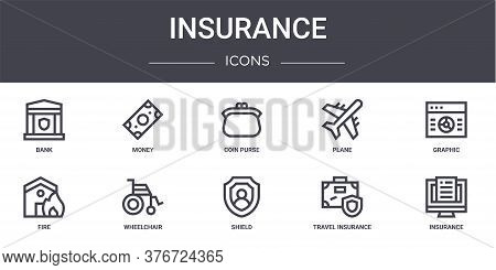 Insurance Concept Line Icons Set. Contains Icons Usable For Web, Logo, Ui Ux Such As Money, Plane, F