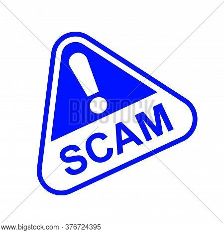 Scam Triangle Sign Blue For Icon Isolated On White, Scam Warning Sign Graphic For Spam Email Message
