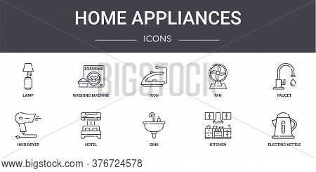 Home Appliances Concept Line Icons Set. Contains Icons Usable For Web, Logo, Ui Ux Such As Washing M