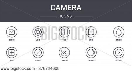 Camera Concept Line Icons Set. Contains Icons Usable For Web, Logo, Ui Ux Such As Lens, Lens, Add, C