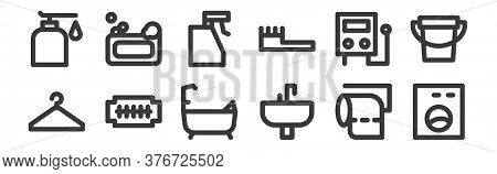 12 Set Of Linear Bathroom Icons. Thin Outline Icons Such As Washing Machine, Sink, Razor Blade, Wate