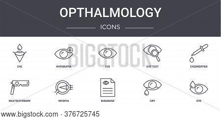 Opthalmology Concept Line Icons Set. Contains Icons Usable For Web, Logo, Ui Ux Such As Hyperopia, E