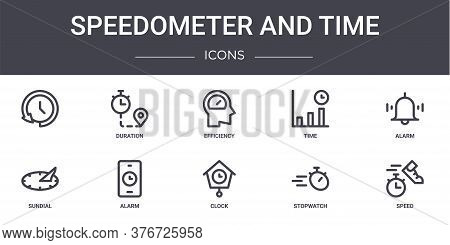 Speedometer And Time Concept Line Icons Set. Contains Icons Usable For Web, Logo, Ui Ux Such As Dura