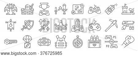 Videogame Line Icons. Linear Set. Quality Vector Line Set Such As Fighting Game, Ammo, Armor, Health
