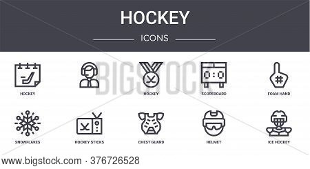 Hockey Concept Line Icons Set. Contains Icons Usable For Web, Logo, Ui Ux Such As , Scoreboard, Snow