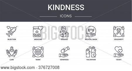 Kindness Concept Line Icons Set. Contains Icons Usable For Web, Logo, Ui Ux Such As Medicine, Medica