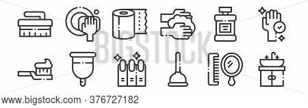 12 Set Of Linear Hygiene Routine Icons. Thin Outline Icons Such As Sink, Plunger, Menstrual Cup, Mou