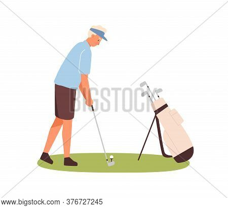 Active Male Golfer Hitting Ball With Club Vector Flat Illustration. Man Professional Golf Player Aim