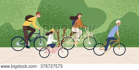 Active Family Riding On Bike At Forest Park Vector Flat Illustration. Mother, Father, Daughter And S