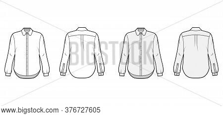 Classic Shirt Technical Fashion Illustration Set With Button Down Front Opening, Round Collar, Long