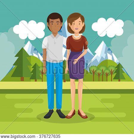 Parents Couple Outside In Landscape Vector Illustration Design