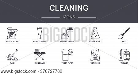 Cleaning Concept Line Icons Set. Contains Icons Usable For Web, Logo, Ui Ux Such As Paint Scraper, G