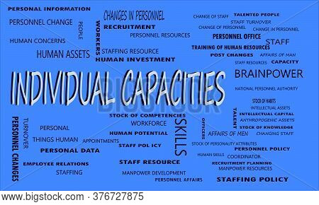Individual Capacities Word Displayed With Multiple Related Words Cloud On Vector Abstract Text Illus