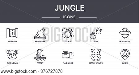 Jungle Concept Line Icons Set. Contains Icons Usable For Web, Logo, Ui Ux Such As Camping Tent, Paws