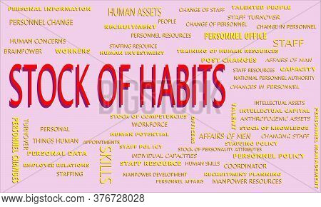 Stock Of Habits Word Displayed With Multiple Related Words Cloud On Vector Abstract Text Illustratio